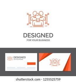 Business logo template for Anthropometry, body, data, human, public. Orange Visiting Cards with Brand logo template