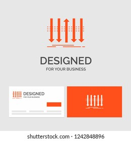 Business logo template for Arrow, business, distinction, forward, individuality. Orange Visiting Cards with Brand logo template.