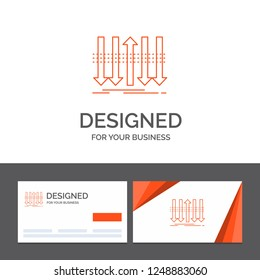 Business logo template for Arrow, business, distinction, forward, individuality. Orange Visiting Cards with Brand logo template