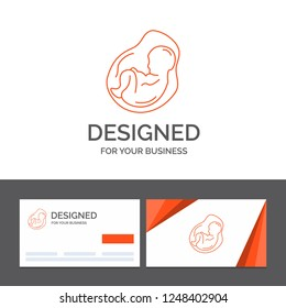 Business logo template for Baby, pregnancy, pregnant, obstetrics, fetus. Orange Visiting Cards with Brand logo template