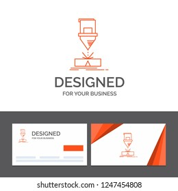 Business logo template for Cutting, engineering, fabrication, laser, steel. Orange Visiting Cards with Brand logo template