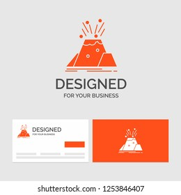 Business logo template for disaster, eruption, volcano, alert, safety. Orange Visiting Cards with Brand logo template.