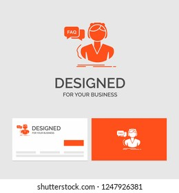 Business logo template for FAQ, Assistance, call, consultation, help. Orange Visiting Cards with Brand logo template.