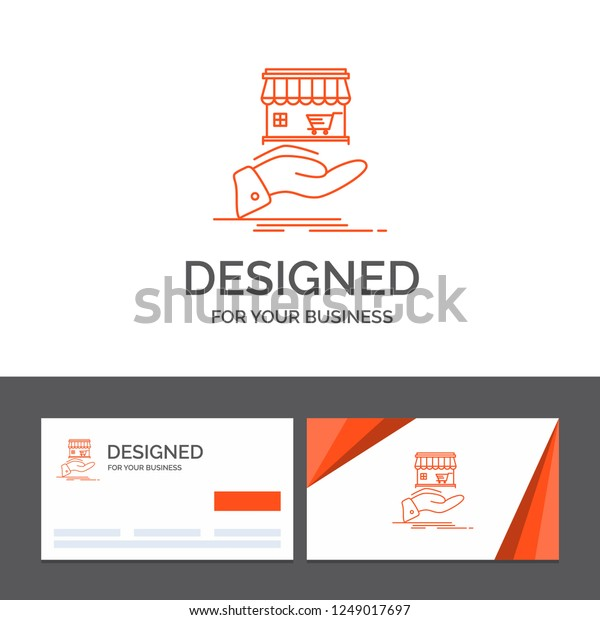 Business logo template for shop, donate, shopping, online, hand. Orange Visiting Cards with Brand logo template