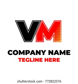 Business Logo. Two letters VM Vector illustration