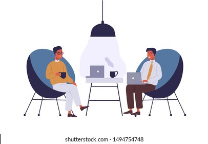 Business lounge zone flat vector illustration. Coworkers having lunch break at office relax area. Businessmen cartoon characters coworking. Colleagues talking, working together isolated clipart.