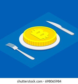 Business lunch concept infographic. Isometric 3d cryptocurrency. Gold bitcoin on plate, on blue background. Cutlery fork and knife.