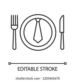 Business lunch, dinner linear icon. Discussing business over meal. Thin line illustration. Table knife, fork and plate with tie inside. Contour symbol. Vector isolated outline drawing. Editable stroke