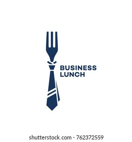 Business lunch logo template design with a fork. Vector illustration.