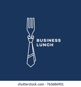 Business lunch logo template design with a fork in outline style. Vector illustration.