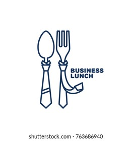Business lunch invitation images stock photos vectors shutterstock business lunch logo template design with a fork and a spoon in outline style vector stopboris Image collections