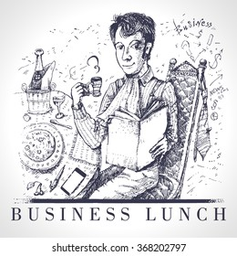 Business lunch office worker businessman. The man has dinner. Vintage drawing in style of an engraving