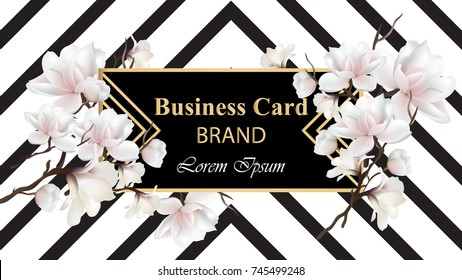 Business Luxury card Vector. Modern Abstract design with floral decor. Place for texts