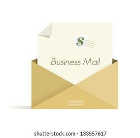 Business Mail letter with dollar sign postal stamp in the open envelope