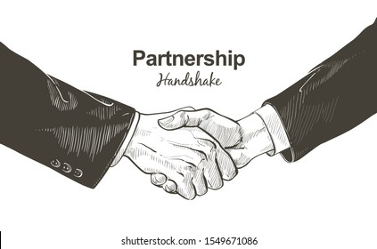 Business male and female handshake. Gesture, sign of contract agreement. Businessman and woman two hands shaking each other. Isolated vector sketch, line illustration on white background.