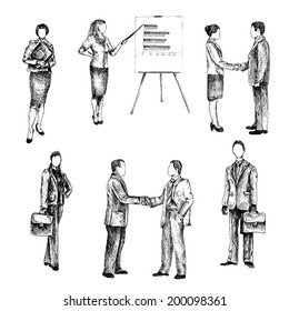 Business male female people sketch set isolated vector illustration