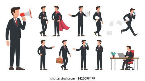 Business male manager in black office suit character set. Businessman standing with megaphone, waking with suitcase, sitting at desk, running with papers. Flat modern vector illustration.