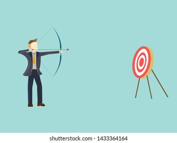 Business man aiming the target,Concept business success vector illustration