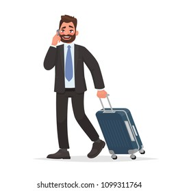 Business man at the airport with luggage is talking on the phone. Vector illustration in cartoon style