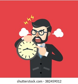 Business man angry about time