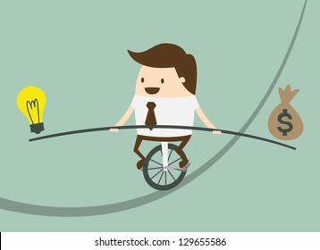 Business man balancing on the rope with ideas and money