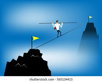 Business man  balancing on  rope. Concept of business,vector illustration.