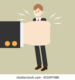 business man being squeezed by huge hand. people under pressure. work stress. cartoon vector illustration.