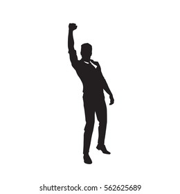 Business Man Black Silhouette Excited Hand Up Success Full Length Over White Background Vector Illustration