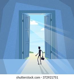 Business Man Black Silhouette Standing at Door Entrance Businessman Sun Light Vector Illustration
