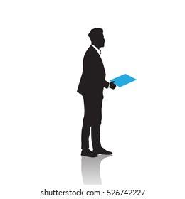 Business Man Black Silhouette Standing Full Length Over White Background Hold Folder Vector Illustration
