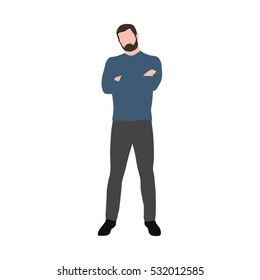 Business man in blue sweater standing with folded hands, vector illustration
