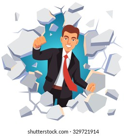 Business man breaking through white concrete wall. Leadership concept. Flat style vector illustration isolated on white background.