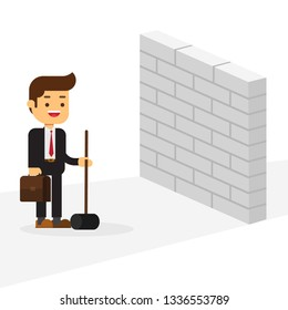 business man breaking wall with hammer