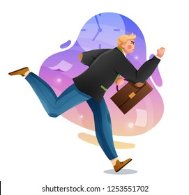 Business man with briefcase running fast. Late business person rushing in a hurry to get on time. Vector character illustration