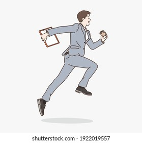 Business man with briefcase running fast. Hand drawn style vector design illustrations.