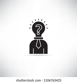 business man with bulb head icon, creative thinking concept