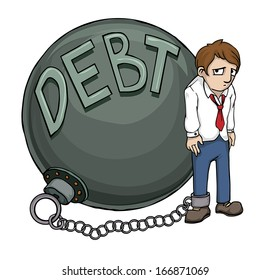 Business man burden with Debt, vector illustration
