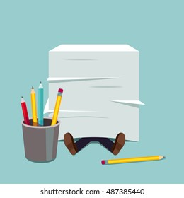 Business man buried under huge document paper pile. Paperwork stress pressure metaphor. Modern flat style vector illustration.