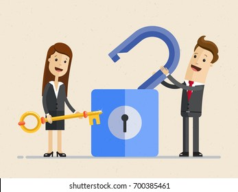 Business man and businesswoman opened a large padlock by a big key. Vector, Illustration, Flat