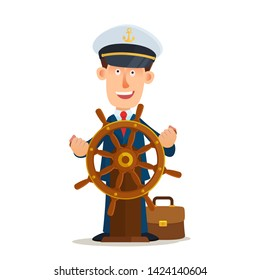 Business man in the captain's hat on the head behind ship rudder. Team leader, new directions concept. Business vector illustration. Flat design, cartoon style. Isolated on white background.