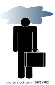 business man carrying briefcase with his head in a storm cloud