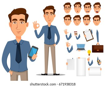 Business man cartoon character creation set. Young handsome smiling businessman in office style clothes. Build your personal design - stock vector