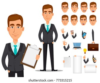 Business man cartoon character creation set. Young handsome smiling businessman in business suit. Build your personal design - stock vector