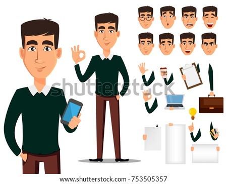 ddde7f65f97 Business man cartoon character creation set. Young handsome smiling  businessman in smart casual clothes.