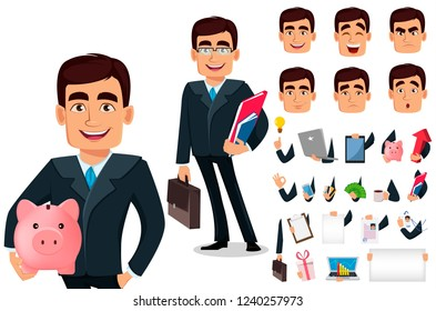 Business man cartoon character in formal suit, pack of body parts, emotions and things. Build your personal design. Handsome businessman. Manager, banker. Vector illustration