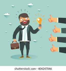 Business man cartoon character have an idea for startup and holding Eureka lamp. Selling startup ideas. Colorful vector illustration in flat style