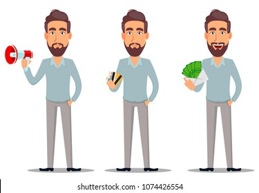Business man in casual clothes. Businessman cartoon character, set with loudspeaker, with credit cards and with envelope full of money. Vector illustration on white background