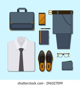 Business man casual outfit. Accessory belt with pants, glasses and smartphone, pen and wallet. Vector illustration