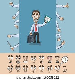 Business man character construction pack hand gestures and facial emotions design elements isolated vector illustration