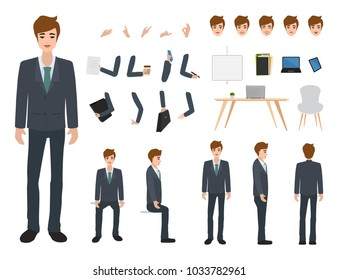 Business man character constructor for different poses. Set of various men's faces. Illustration vector isolated on white background.